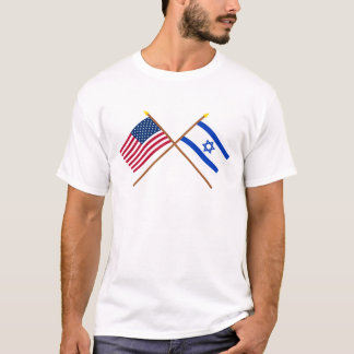 US and Israel Crossed Flags T-Shirt