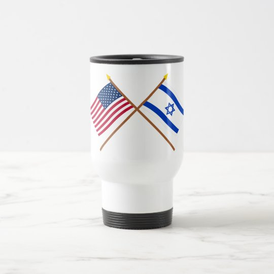 US and Israel Crossed Flags Travel Mug