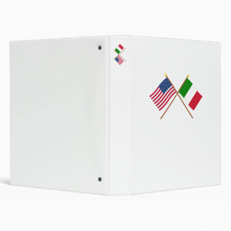 US and Italy Crossed Flags 3 Ring Binder