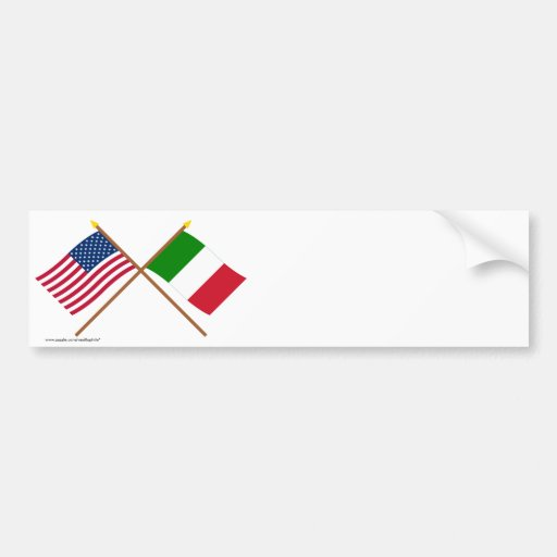US and Italy Crossed Flags Bumper Stickers