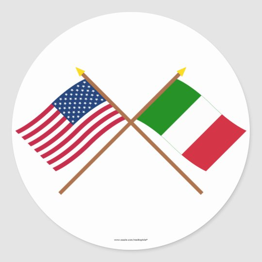 US and Italy Crossed Flags Classic Round Sticker