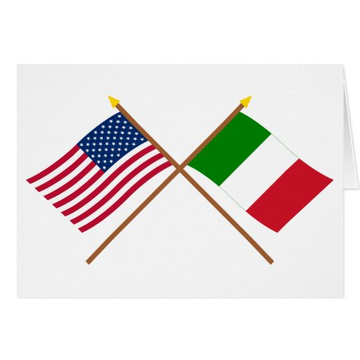 US and Italy Crossed Flags Greeting Card