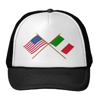 US and Italy Crossed Flags Hats