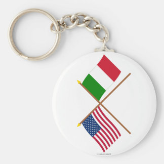 US and Italy Crossed Flags Basic Round Button Keychain