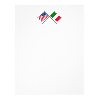 US and Italy Crossed Flags Customized Letterhead