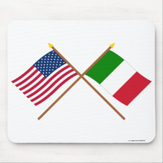 US and Italy Crossed Flags Mouse Pad