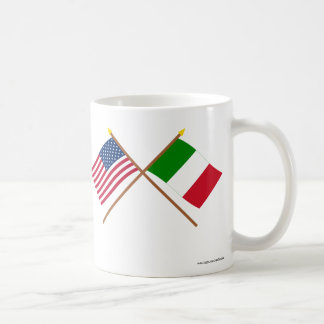 US and Italy Crossed Flags Classic White Coffee Mug
