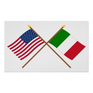 US and Italy Crossed Flags Poster