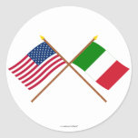 US and Italy Crossed Flags Round Sticker