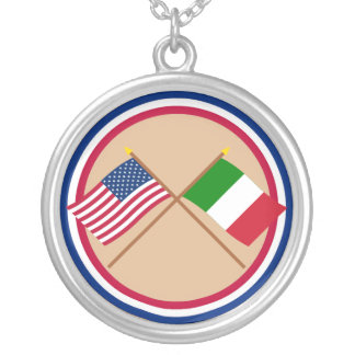US and Italy Crossed Flags Silver Plated Necklace