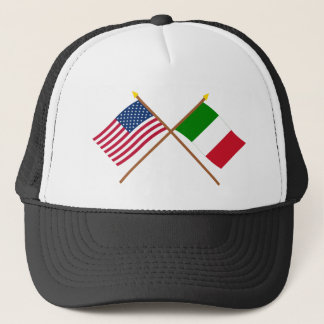 US and Italy Crossed Flags Trucker Hat