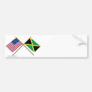 US and Jamaica Crossed Flags Car Bumper Sticker