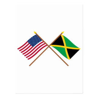 US and Jamaica Crossed Flags Postcard
