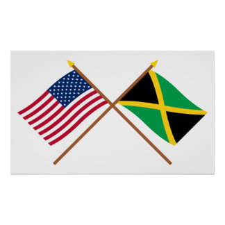 US and Jamaica Crossed Flags Print