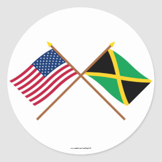US and Jamaica Crossed Flags Classic Round Sticker