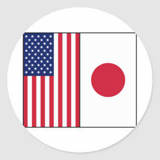 US and Japan Flags Sticker