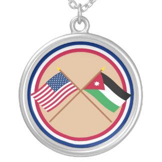 US and Jordan Crossed Flags Pendants
