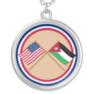 US and Jordan Crossed Flags Silver Plated Necklace