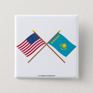 US and Kazakhstan Crossed Flags Button