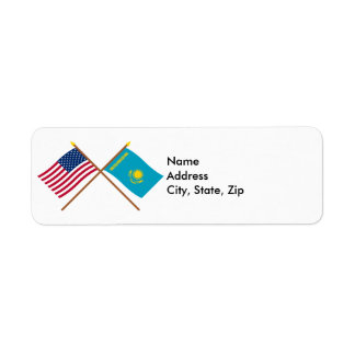 US and Kazakhstan Crossed Flags Return Address Label