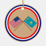 US and Kazakhstan Crossed Flags Christmas Tree Ornaments