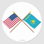 US and Kazakhstan Crossed Flags Round Sticker
