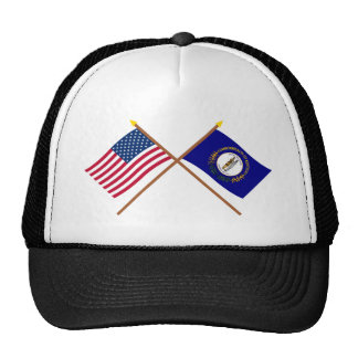 US and Kentucky Crossed Flags Mesh Hats