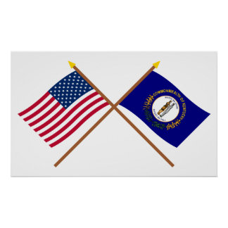 US and Kentucky Crossed Flags Poster