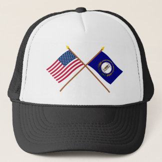 US and Kentucky Crossed Flags Trucker Hat