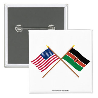 US and Kenya Crossed Flags Button