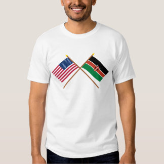 US and Kenya Crossed Flags Shirt