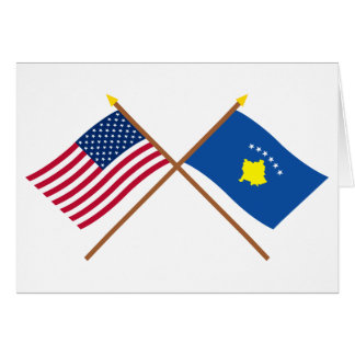 US and Kosovo Crossed Flags Card