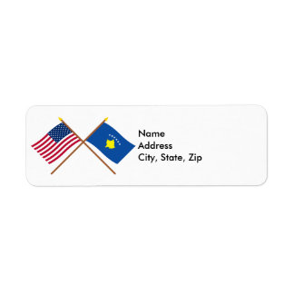 US and Kosovo Crossed Flags Return Address Label