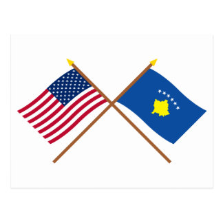 US and Kosovo Crossed Flags Postcard