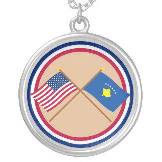 US and Kosovo Crossed Flags Silver Plated Necklace