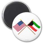 US and Kuwait Crossed Flags 2 Inch Round Magnet