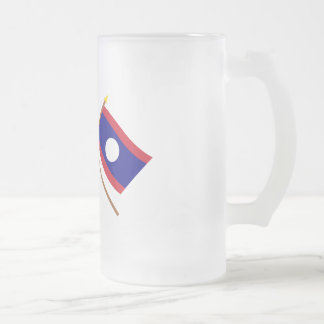 US and Laos Crossed Flags Frosted Glass Beer Mug