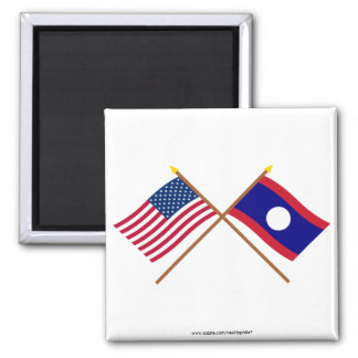 US and Laos Crossed Flags 2 Inch Square Magnet