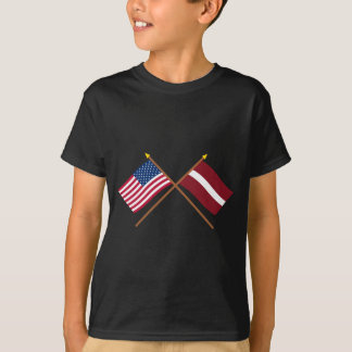 US and Latvia Crossed Flags T-Shirt