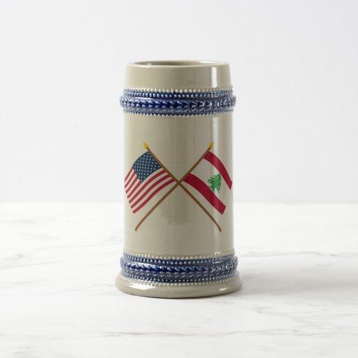 US and Lebanon Crossed Flags Coffee Mug