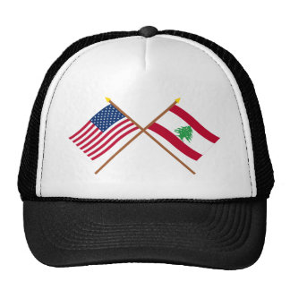 US and Lebanon Crossed Flags Trucker Hat