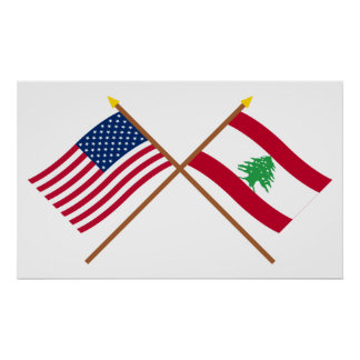US and Lebanon Crossed Flags Print