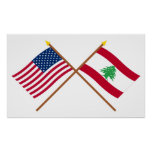 US and Lebanon Crossed Flags Print