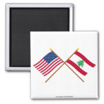 US and Lebanon Crossed Flags Refrigerator Magnets