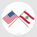 US and Lebanon Crossed Flags Stickers