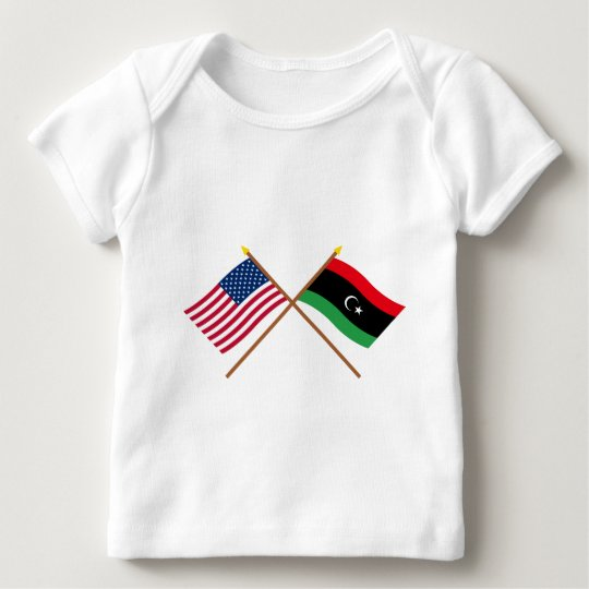 US and Libya Crossed Flags Baby T-Shirt