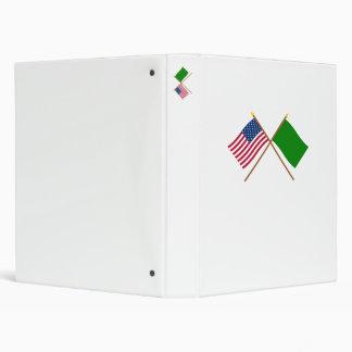 US and Libya Crossed Flags Vinyl Binders