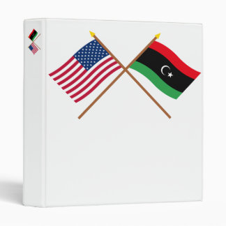 US and Libya Crossed Flags Vinyl Binder