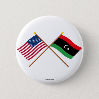 US and Libya Crossed Flags Button