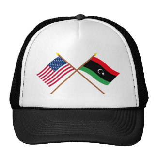 US and Libya Crossed Flags Trucker Hat